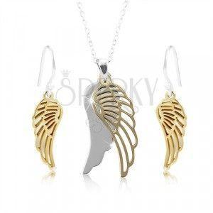 Srebrny zestaw 925, skrzydła anioła w srebrnym i złotym odcieniu obraz
