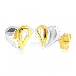 Złote 14K kolczyki - dwukolorowe serce z wycięciami obraz