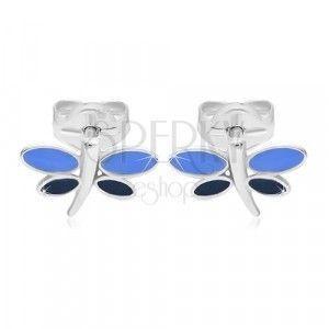 Kolczyki z białego 14K złota - ważka z niebieską emalią na skrzydłach obraz