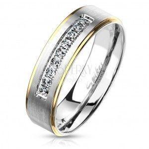 Dwukolorowy pierścień ze stali, srebrny i złoty odcień, przezroczyste cyrkonie, 6 mm obraz