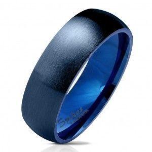 Stalowa obrączka w ciemnoniebieskim odcieniu, matowa i wypukła powierzchnia , 6 mm obraz