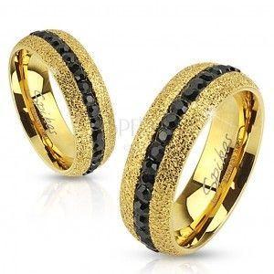 Stalowy pierścionek złotego koloru, błyszczący, z cyrkoniowym pasem, 6 mm obraz