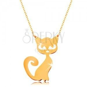 Złoty naszyjnik 585 - subtelny błyszczący łańcuszek, płaska zawieszka - kotek obraz