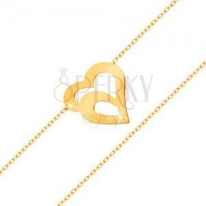 Złota bransoletka 585 - subtelny łańcuszek z owalnych ogniw, podwójny kontur serca obraz