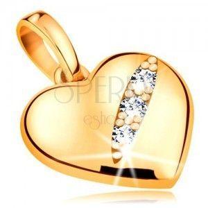 Zawieszka z żółtego 585 złota - symetryczne wypukłe serce z trzema cyrkoniami w nacięciu obraz