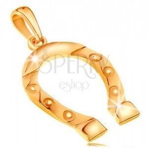 Zawieszka z żółtego złota 585, symbol szczęścia - podkowa, wygrawerowane kółeczka obraz