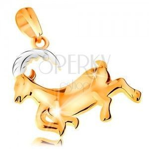 Zawieszka ze złota 585 - lśniący dwukolorowy symbol znaku zodiaku - KOZIOROŻEC obraz