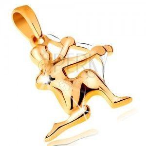 Dwukolorowa złota zawieszka 585 - symbol znaku zodiaku - STRZELEC obraz