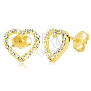 Kolczyki z żółtego 14K złota - kontur serca zdobiony bezbarwnymi cyrkoniami obraz