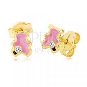 Złote 14K kolczyki, miś ozdobiony różową emalią i cyrkonią obraz