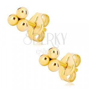 Złote kolczyki 585 - trzy małe lśniące kuleczki obraz