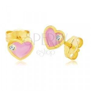 Kolczyki z żółtego 14K złota, serce z różową emalią i cyrkonią obraz