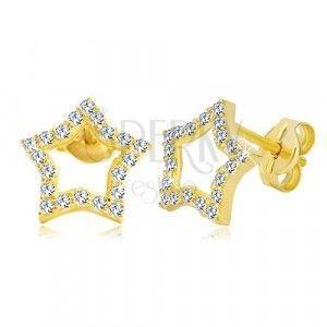 Kolczyki z żółtego złota 585 - kontur gwiazdy zdobiony bezbarwnymi cyrkoniami obraz