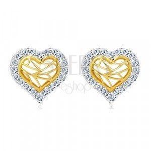 Kolczyki z 14K złota - serce z cyrkoniowym konturem i wycięciem w środku obraz