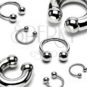 Piercing ze stali chirurgicznej - lśniąca podkowa z kulkami basic, różne rozmiary obraz