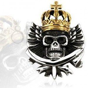 Zawieszka - stalowa czaszka w koronie królewskiej obraz