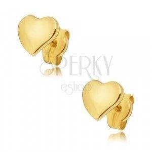 Kolczyki z żółtego 14K złota - płaskie lśniące nieregularne serce obraz