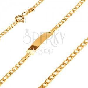 Złota bransoletka 585 z płytką - lśniące drobne owalne ogniwa, 180 mm obraz