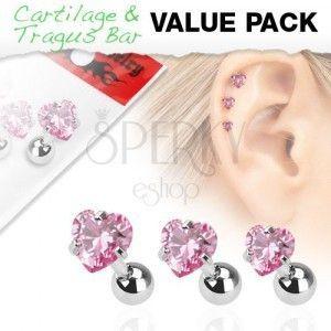 Zestaw trzech stalowych kolczyków do ucha, różowa cyrkonia w kształcie serduszka obraz