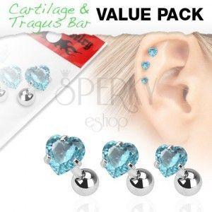 Zestaw trzech stalowych kolczyków do ucha, akwamarynowa cyrkonia - serce obraz