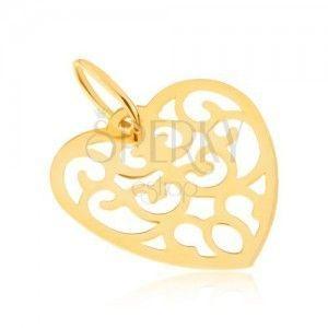 Wisiorek z żółtego złota 14K - symetryczne wycinane serce, ornamenty obraz