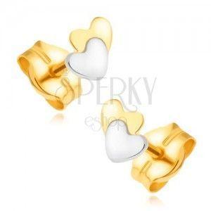 Złote kolczyki 585 - żółto-biała kombinacja, nachodzące na siebie serca obraz