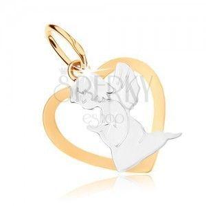 Rodowany wisiorek ze złota 9K - zarys serca z aniołkiem, dwukolorowa tonacja obraz