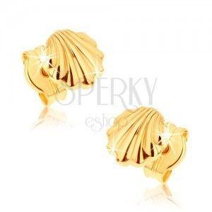 Kolczyki z żółtego złota 9K - lśniące morskie muszle obraz