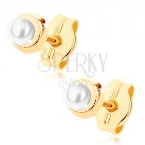 Złote kolczyki 375 - małe lśniące koło z drobną okrągłą perełką obraz