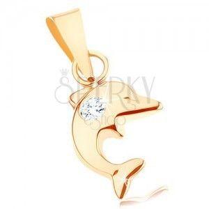 Wisiorek w żółtym 9K złocie - mały skaczący delfin, okrągła przejrzysta cyrkonia obraz