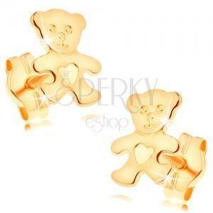 Kolczyki z żółtego 14K złota - błyszczący płaski niedźwiadek z serduszkiem na brzuszku obraz