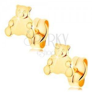 Złote kolczyki 585 - siedzący niedźwiadek, zapięcie na sztyft obraz