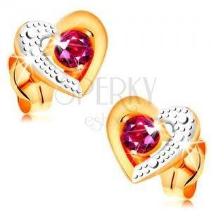 Złote kolczyki 585 - różowy rubin w dwukolorowym zarysie serca, grawer obraz