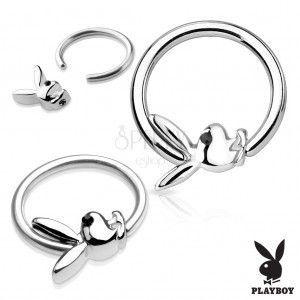 Piercing krążek ze stali chirurgicznej srebrnego koloru z zajączkiem Playboy obraz