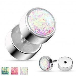 Fałszywy plug ze stali chirurgicznej w srebrnym odcieniu, błyszczący syntetyczny opal obraz