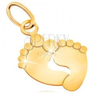 Zawieszka z żółtego złota 585 - dwa odciski stóp, błyszcząca i płaska powierzchnia obraz