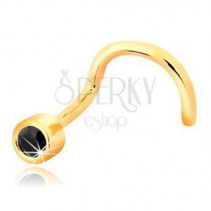 Piercing do nosa z żółtego 14K złota - zagięty kształt, czarny szafir w obwódce obraz