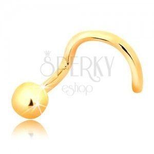 Złoty zagięty piercing do nosa 585 - lśniąca kulka, 2, 5 mm obraz