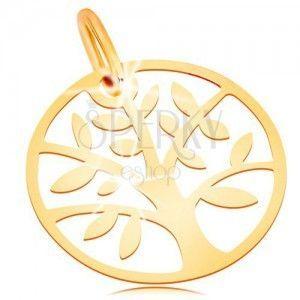 Złota zawieszka 585 - lśniące i płaskie, koło z drzewem życia obraz