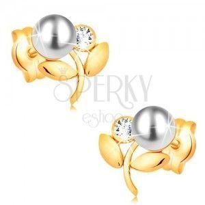 Kolczyki z żółtego 14K złota - kwiatek z białą perłą, bezbarwny cyrkon obraz