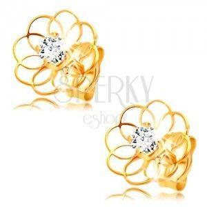 Diamentowe kolczyki z żółtego 14K złota - kontur kwiatu z brylantem obraz