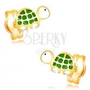 Kolczyki z żółtego złota 14K - mały zielono-biały żółw z czarnym okiem obraz