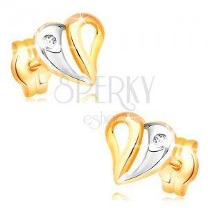 Kolczyki z żółtego i białego 14K złota - dwukolorowe serce z wycięciami i cyrkonią obraz
