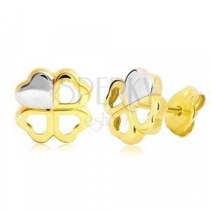 Kolczyki z 14K złota - dwukolorowa czterolistna koniczyna na szczęście, wkręty obraz