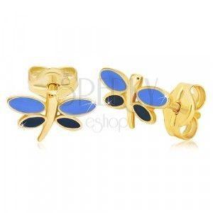 Kolczyki z żółtego 14K złota - ważka z niebieską emalią na skrzydłach obraz