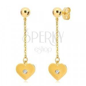 Kolczyki z żółtego 14K złota - płaskie serce zawieszone na łańcuszku, cyrkonia obraz