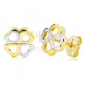 Złote kolczyki 585 - czterolistna koniczyna na szczęście z dwukolorowych serc obraz