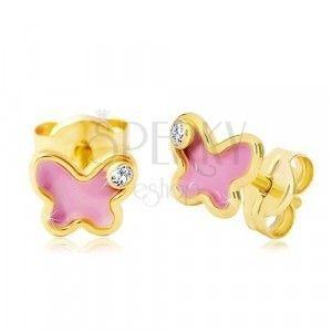Kolczyki z żółtego 14K złota, motyl z różową emalią i cyrkonią obraz