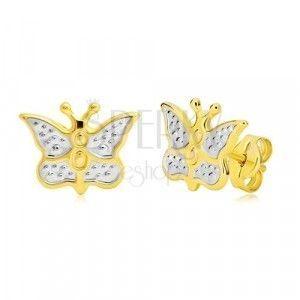 Złote kolczyki 585 - motyl zdobiony białym złotem i kropkami obraz