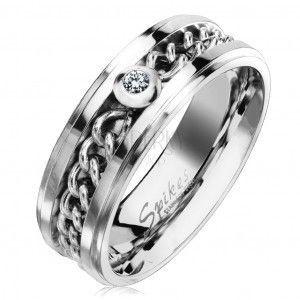 Stalowy pierścionek w srebrnym odcieniu z łańcuszkiem i przezroczystą cyrkonią, 7 mm obraz